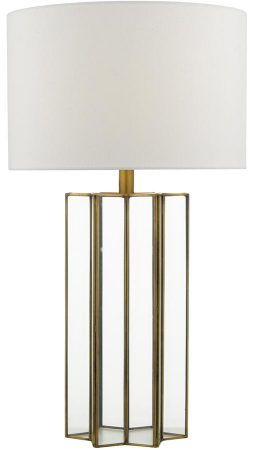 Dar Osuna Brass Framed Glass Table Lamp With Linen Shade