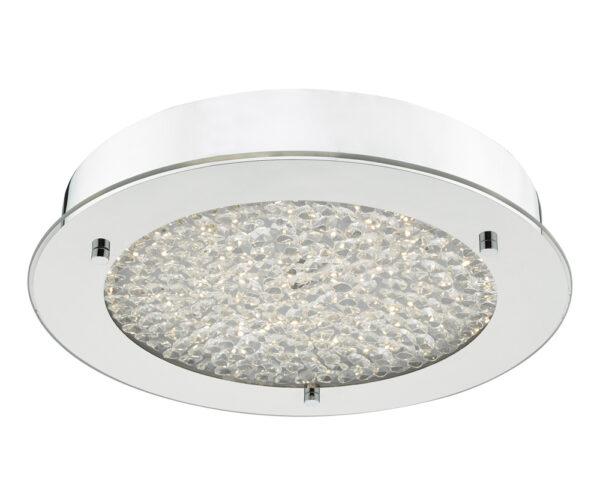 Dar Peta 20w LED Flush Bathroom Ceiling Light Chrome Crystal IP44