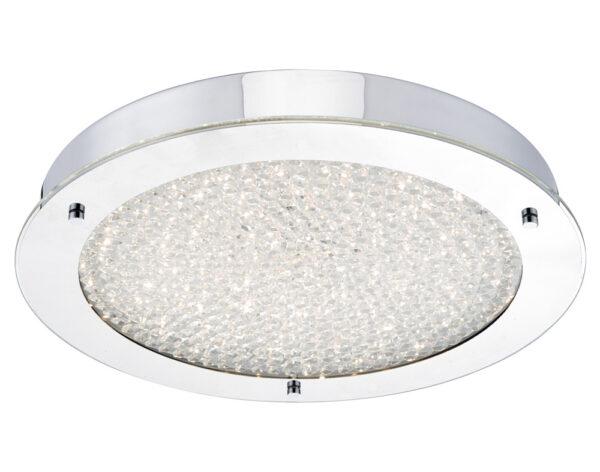 Dar Peta LED Large Flush Bathroom Ceiling Light Chrome Crystal IP44