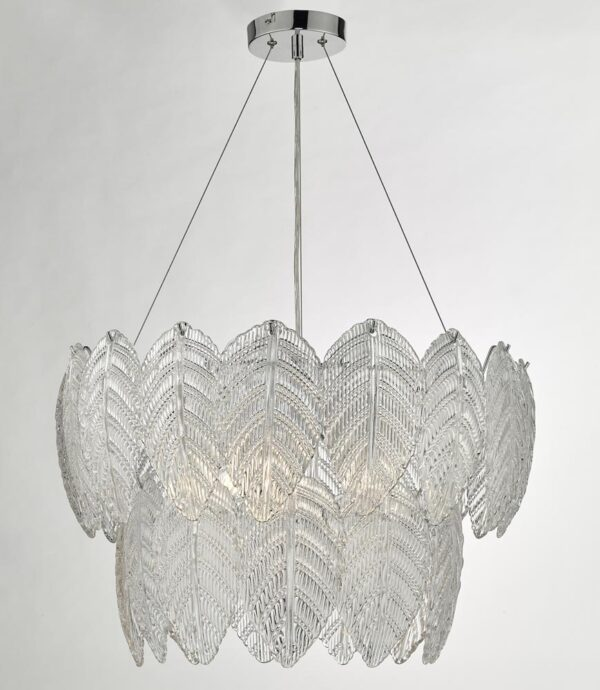 Dar Phillipa Modern 3 Lamp Pendant Ceiling Light Textured Glass Petals