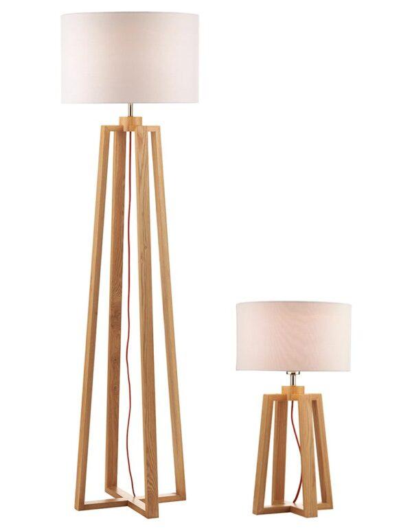 Dar Pyramid Solid Light Wood Floor & Table Lamp Set White Shades