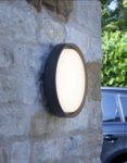 Dar Ralph LED Large Round Outdoor Wall Bulkhead Light Anthracite IP65