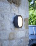 Dar Ralph LED Small Round Outdoor Wall Bulkhead Light Anthracite IP65