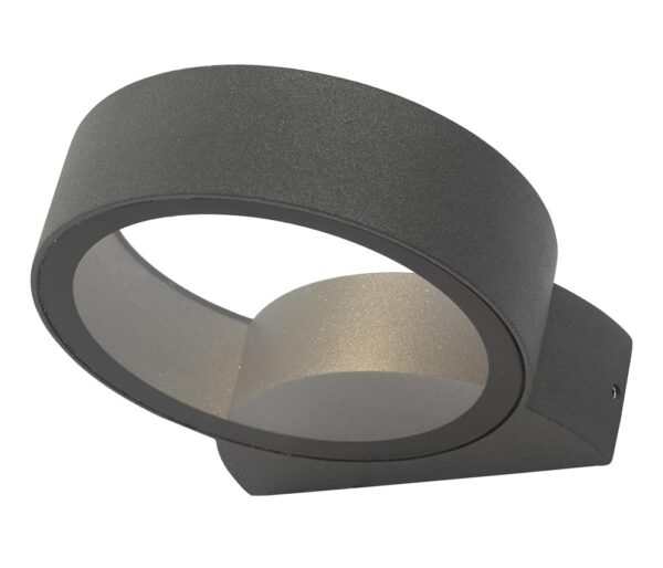 Dar Reon Round 1 Light LED Outdoor Wall Washer Light Anthracite IP65