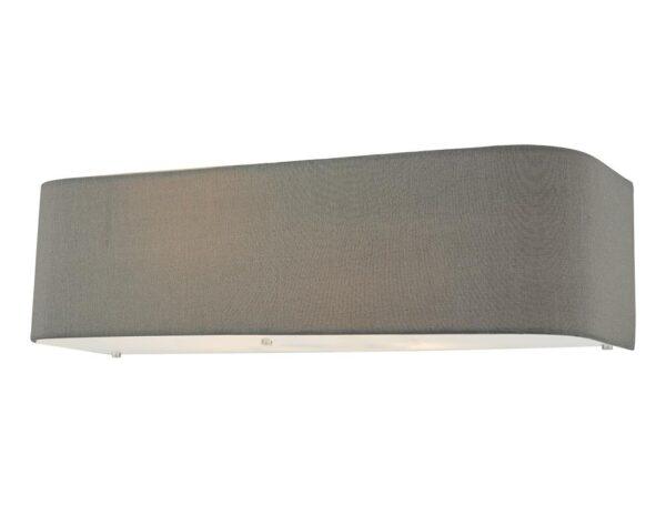 Dar Ronda Modern 2 Lamp Slimline Wall Light Grey Faux Silk Shade