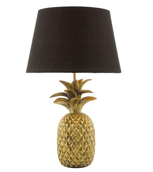 Dar Safa 1 Light Pineapple Table Lamp Matt Gold Black Cotton Shade