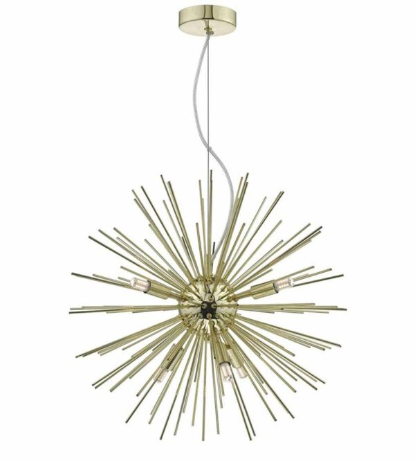 Dar Sagan Modern 6 Lamp Sunburst Pendant Ceiling Light Gold