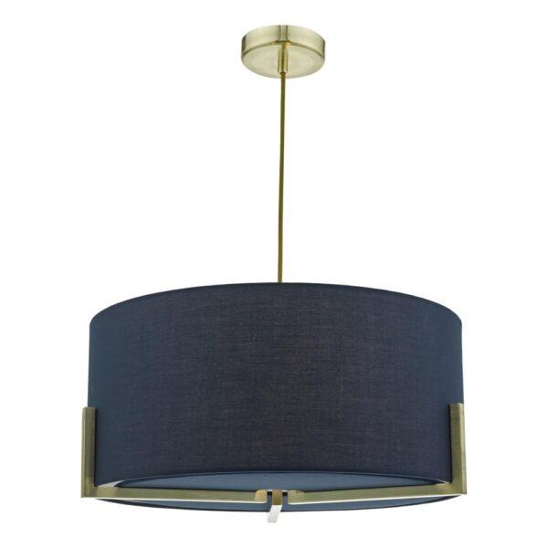 Dar Santino 3 Lamp Pendant Ceiling Light Navy Shade Brushed Gold
