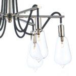 Dar Scroll Industrial 6 lamp Semi Flush Low Ceiling Light Polished Nickel