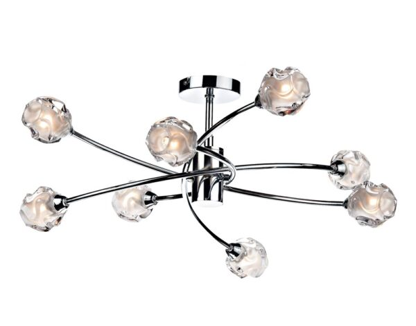 Dar Seattle Modern 8 lamp Semi Flush Low Ceiling Light Polished Chrome