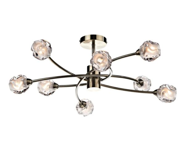 Dar Seattle Modern 8 lamp Semi Flush Low Ceiling Light Antique Brass