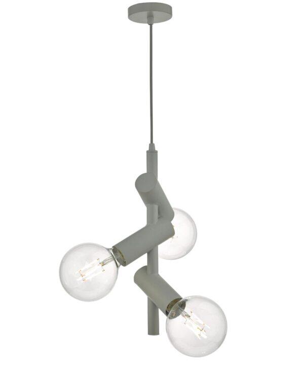 Dar Sion Modern 3 Lamp Bare Bulb Pendant Ceiling Light Matt Grey