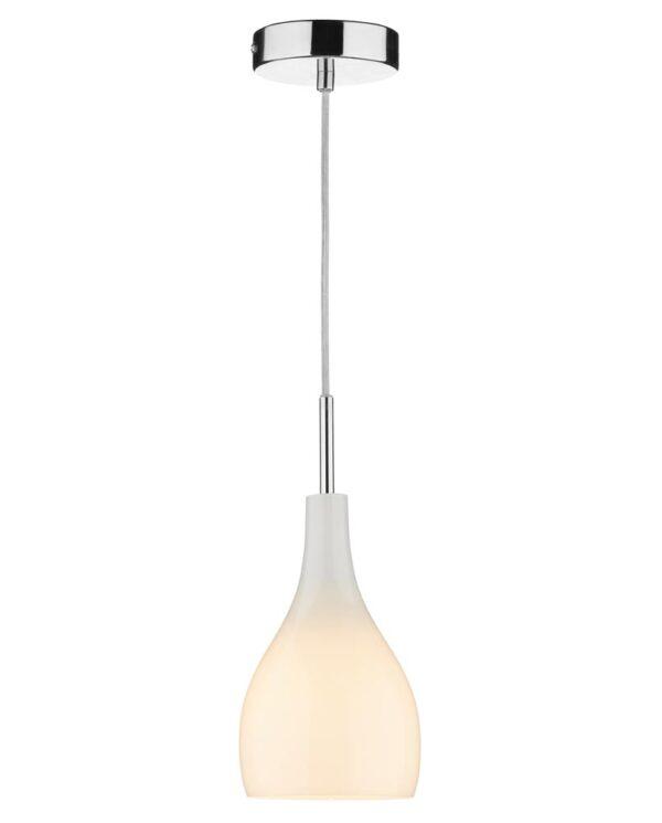 Dar Soho Single White Glass Kitchen Ceiling Pendant Light Chrome