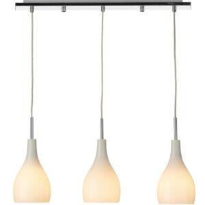 Dar Soho 3 Lamp White Glass Kitchen Bar Pendant Ceiling Light Chrome