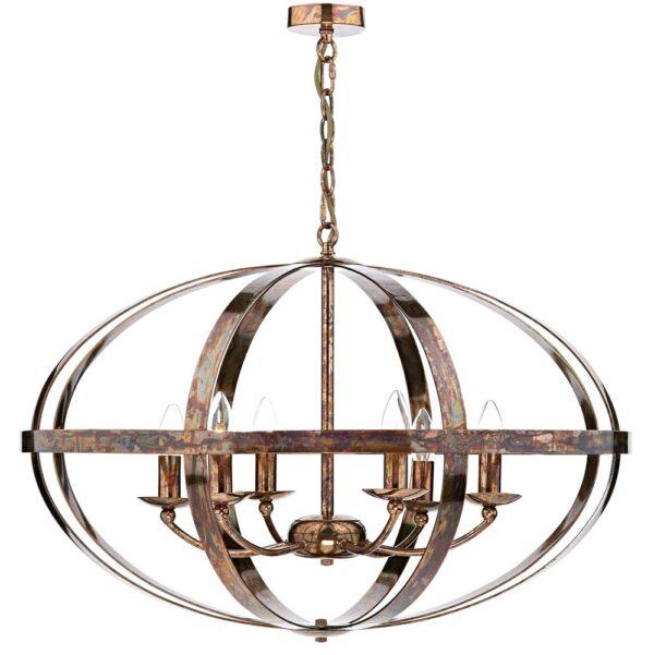 Dar Symbol Large 6 Lamp Cage Pendant Ceiling Light Aged Copper