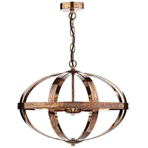 Dar Symbol Modern 3 Lamp Cage Pendant Ceiling Light Aged Copper