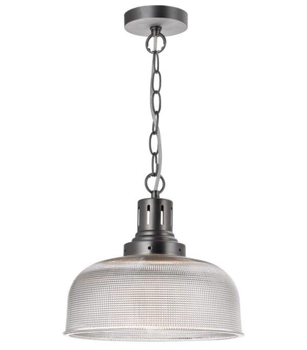 Dar Tack Industrial 1 Light Ceiling Pendant Prismatic Glass Matt Nickel
