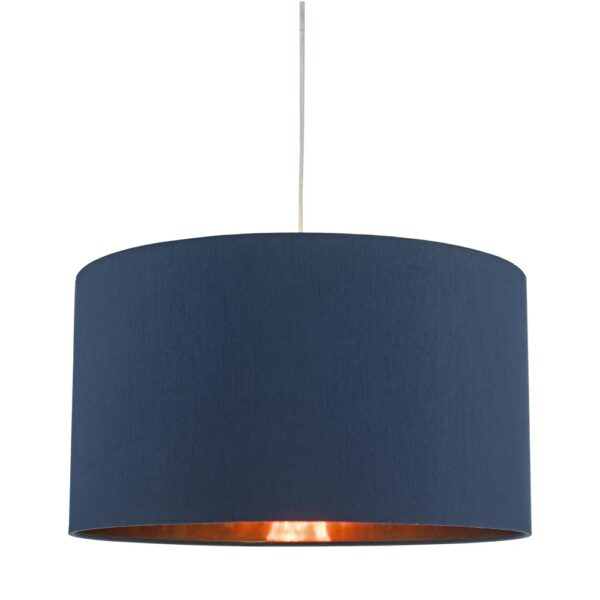Dar Timon 40cm Copper Lined Ceiling Lamp Shade Navy Blue Faux Silk