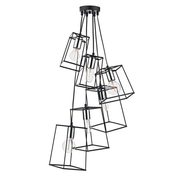 Dar Tower Matt Black 6 Light Cluster Pendant Polished Chrome Detail