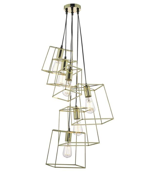 Dar Tower Modern Industrial 6 Light Cluster Pendant Polished Gold