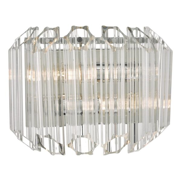 Dar Tuvalu Art Deco Style Switched 2 Lamp Wall Light Chrome & Glass