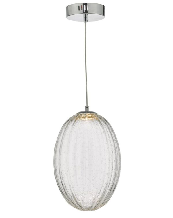 Dar Tyona Dimming LED Ribbed Bubble Glass Ceiling Pendant Chrome