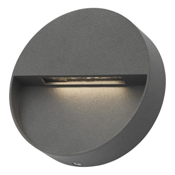 Dar Ugo Round 2w LED Outdoor Wall Light Guide Anthracite IP65