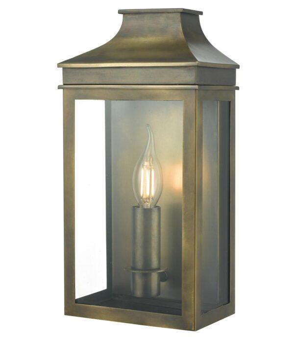 Dar Vapour 1 Light Outdoor Wall Coach Lantern Weathered Brass IP44