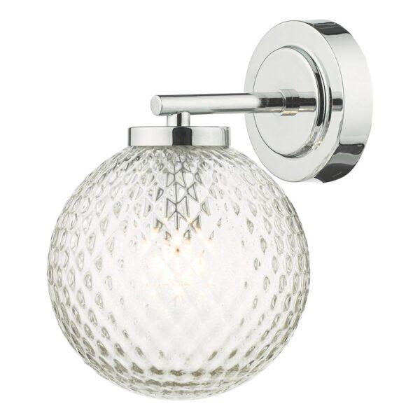 Dar Wayne Polished Chrome 1 Lamp Bathroom Wall Light Dimpled Glass