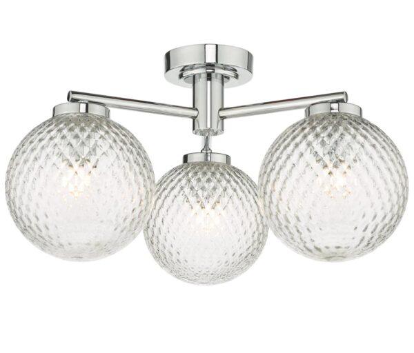 Dar Wayne Chrome 3 Lamp Flush Bathroom Ceiling Light Dimpled Glass