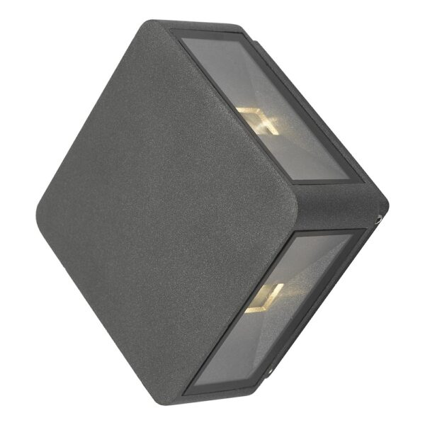 Dar Weiss Square 4 Light LED Outdoor Wall Washer Light Anthracite IP65