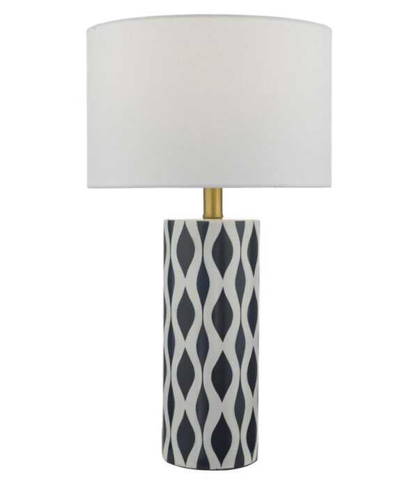 Dar Weylin 1 Light Blue & White Ceramic Table Lamp White Shade