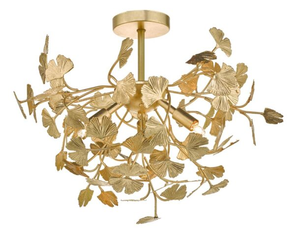 Dar Yadira Branch Design 4 Lamp Semi Flush Low Ceiling Light Gold Leaf