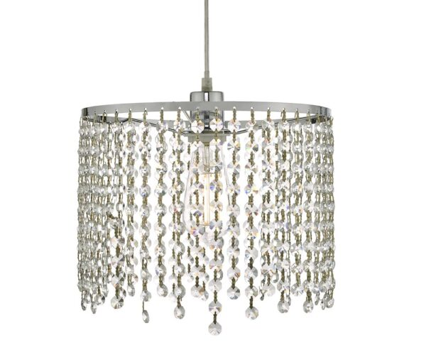Dar Yiannis Easy Fit Crystal Ceiling Lamp Shade Polished Chrome