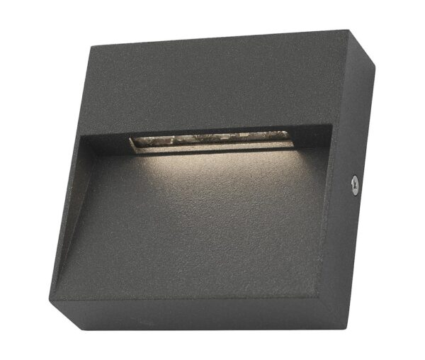 Dar Yukon Square 2w LED Outdoor Wall Light Guide Anthracite IP65