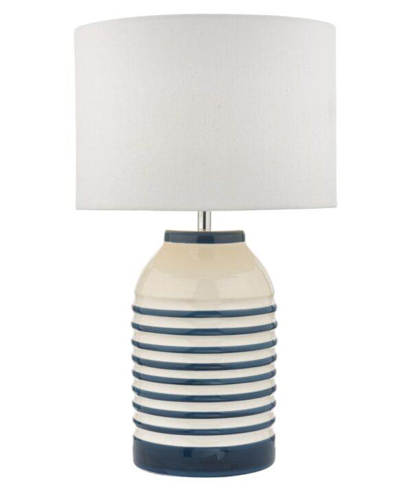 Dar Zabe Blue & White Ceramic Table Lamp Ivory Linen Shade