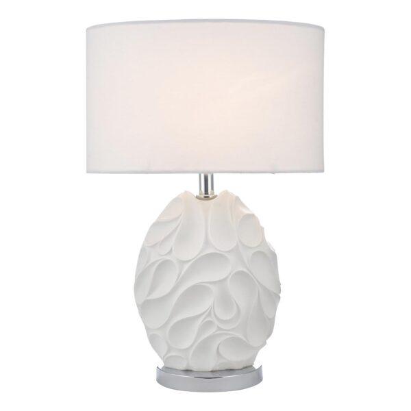 Dar Zachary 1 Light Oval Textured Table Lamp White Linen Shade