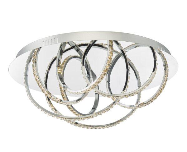 Dar Zancara Dimming LED Flush Low Ceiling 7 Light Chrome & Crystal