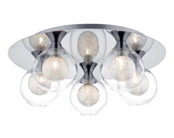 Dar Zeke 5 Lamp Flush Mount Low Ceiling Light Chrome Spun Glass