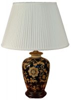 Dark Blue and Gold Ceramic Table Lamp with Lampshade