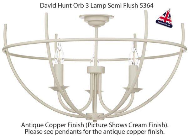 David Hunt Orb Antique Copper 3 Lamp Semi Flush Ceiling Light