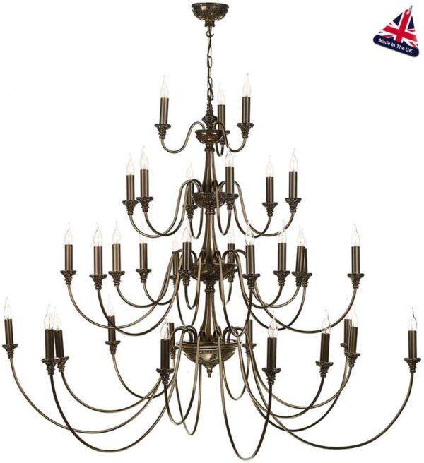 David Hunt Bailey Extra Large 33 light 4 tier chandelier in rich bronze