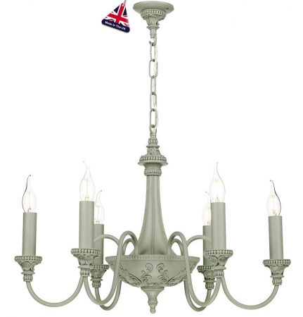 David Hunt Bailey 6 Light Chandelier Ash Grey Traditional