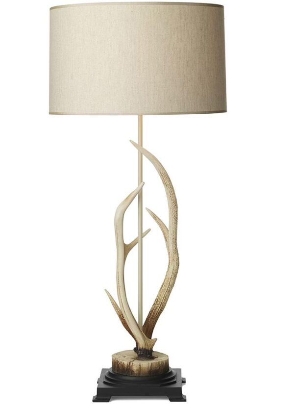 David Hunt Antler Bleached Finish Large Table Lamp Cream Shade