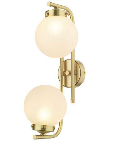 David Hunt Jazz 2 Lamp Wall Light Butter Brass Frosted Glass