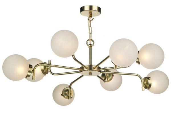 David Hunt Jazz 8 Light Ceiling Pendant Butter Brass Frosted Glass