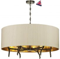 David Hunt Joshua Bronze 6 Light Pendant Taupe Silk Shade