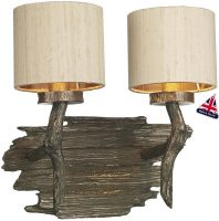 David Hunt Joshua Bronze Twin Wall Light Taupe Silk Shades