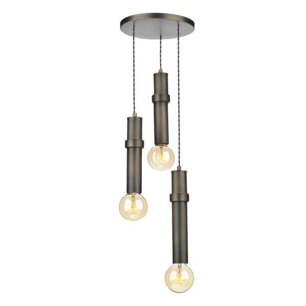 David Hunt Adling 3 Light Industrial Style Solid Antique Brass Pendant