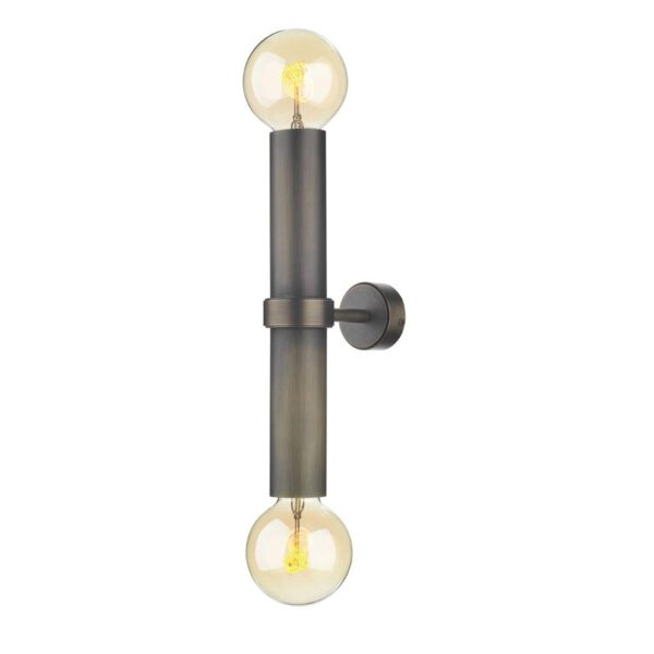 David Hunt Adling Twin Industrial Style Solid Antique Brass Wall Light